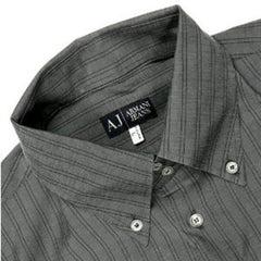 Armani Jeans men's grey striped shirt Long sleeve