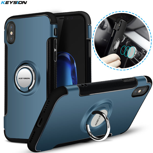 KEYSION Phone Case for iPhone X Car Holder Stand Magnetic Bracket Case