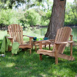 3-Piece Patio Set - 2 Oak Adirondack Chairs and Matching Side Table, Outdoor > Outdoor Furniture > Adirondack Chairs, Jimis Country Store - Jimis Country Store