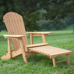 Reclining Adirondack Chair with Pull-out Ottoman in Natural Fir Wood, Outdoor > Outdoor Furniture > Adirondack Chairs, Jimis Country Store - Jimis Country Store