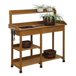 Wooden Potting Bench Garden Work Table with Sink and Shelving in Light Oak Finish, Outdoor > Gardening > Potting Benches, Jimis Country Store - Jimis Country Store