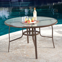 48-inch Round Glass-Top Outdoor Patio Dining Table with Umbrella Hole, Outdoor > Outdoor Furniture > Patio Tables, Jimis Country Store - Jimis Country Store