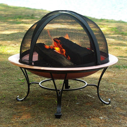 Classic 30-inch Copper Fire Pit with Dome Screen, Outdoor > Outdoor Decor > Fire Pits, Jimis Country Store - Jimis Country Store