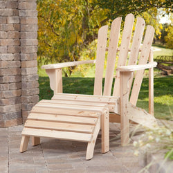 Weather-Resistant Unfinished Fir Wood Adirondack Chair and Ottoman Set, Outdoor > Outdoor Furniture > Adirondack Chairs, Jimis Country Store - Jimis Country Store
