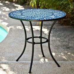 30-inch Round Metal Outdoor Bistro Patio Table with Hand-Laid Blue Tiles, Outdoor > Outdoor Furniture > Patio Tables, Jimis Country Store - Jimis Country Store