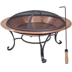 Large 29-inch Outdoor Fire Pit in 100% Solid Copper with Screen Cover, Outdoor > Outdoor Decor > Fire Pits, Jimis Country Store - Jimis Country Store