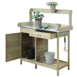 Natural Fir Wood Potting Bench with Stainless Steel Table Top, Outdoor > Gardening > Potting Benches, Jimis Country Store - Jimis Country Store