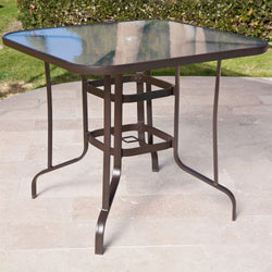 40-inch Outdoor Patio Dining Table with Glass Top and Umbrella Hole, Outdoor > Outdoor Furniture > Patio Tables, Jimis Country Store - Jimis Country Store