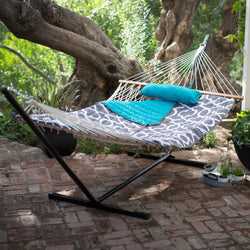 Cotton Rope 11-Ft Hammock with Metal Stand and Aqua Lattice Pillow Pad Set, Outdoor > Outdoor Furniture > Hammocks, Jimis Country Store - Jimis Country Store