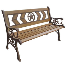 2-Seat Outdoor Metal and Wood Garden Park Bench, Outdoor > Outdoor Furniture > Garden Benches, Jimis Country Store - Jimis Country Store