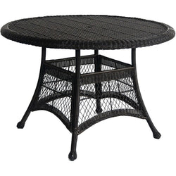 Black Resin Wicker 44.5-inch Outdoor Dining Patio Table with Umbrella Hole, Outdoor > Outdoor Furniture > Patio Tables, Jimis Country Store - Jimis Country Store