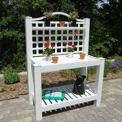 White Vinyl Outdoor Potting Bench with Trellis - Made in USA, Outdoor > Gardening > Potting Benches, Jimis Country Store - Jimis Country Store