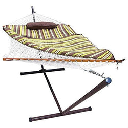 Rope Hammock Set with Stand Pad and Pillow 55 x 144-inch - Desert Stripe, Outdoor > Outdoor Furniture > Hammocks, FastFurnishings - Jimis Country Store