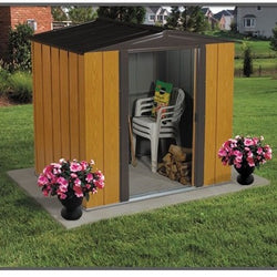 Woodgrain Finish Steel Metal Storage Shed - Made in USA, Outdoor > Storage Sheds, Jimis Country Store - Jimis Country Store