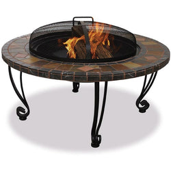 Marble and Slate 34-inch Fire Pit with Copper Accents and Wrought Iron Stand, Outdoor > Outdoor Decor > Fire Pits, Jimis Country Store - Jimis Country Store