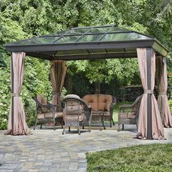 12-ft x 16-ft Year-Round Use Gazebo with UV Blocking Panels Canopy and Curtains, Outdoor > Gazebos & Canopies, Jimis Country Store - Jimis Country Store