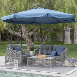 Navy Blue 11-Ft Offset Steel Patio Umbrella Gazebo Canopy with Removable Mosquito Netting, Outdoor > Outdoor Furniture > Patio Umbrella, Jimis Country Store - Jimis Country Store