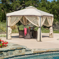 10Ft x 10Ft Steel Frame Gazebo with Polyester Canopy and Screen in Beige, Outdoor > Gazebos & Canopies, Jimis Country Store - Jimis Country Store