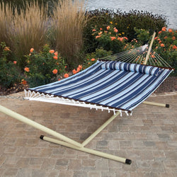 Blue Navy Stripe Quilted 13-Ft Hammock with Heavy Duty Bronze Metal Stand, Outdoor > Outdoor Furniture > Hammocks, Jimis Country Store - Jimis Country Store
