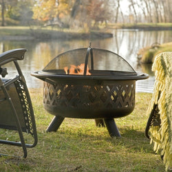 36-inch Bronze Fire Pit with Grill Grate Spark Screen Cover and Poker, Outdoor > Outdoor Decor > Fire Pits, Jimis Country Store - Jimis Country Store