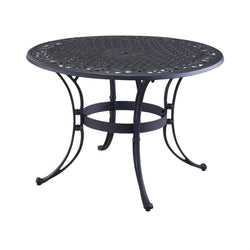 48-inch Round Black Metal Outdoor Patio Dining Table with Umbrella Hole, Outdoor > Outdoor Furniture > Patio Tables, Jimis Country Store - Jimis Country Store