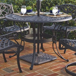42-inch Round Black Metal Outdoor Patio Dining Table with Umbrella Hole, Outdoor > Outdoor Furniture > Patio Tables, Jimis Country Store - Jimis Country Store