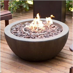 28-inch Round Gray Enviro Stone Fire Pit Bowl with Propane Tank Hideaway Table, Outdoor > Outdoor Decor > Fire Pits, Jimis Country Store - Jimis Country Store