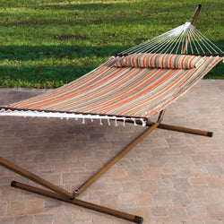 Red White Brown Stripe Quilted 13-Ft Hammock with Faux Mahogany Wood-Grain Metal Stand, Outdoor > Outdoor Furniture > Hammocks, FastFurnishings - Jimis Country Store