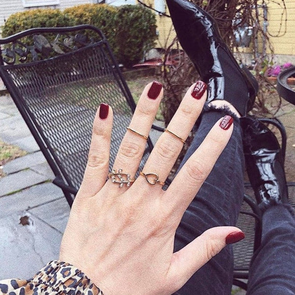 Autumn Leaf Love Mid Finger Ring Set