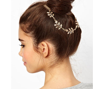 Gold Leaf Tassel Hair Clip