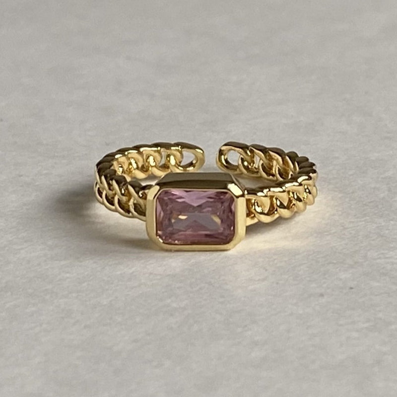 Pink Gemstone Chain Ring