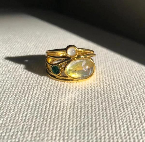 Retro Three Opal Ring
