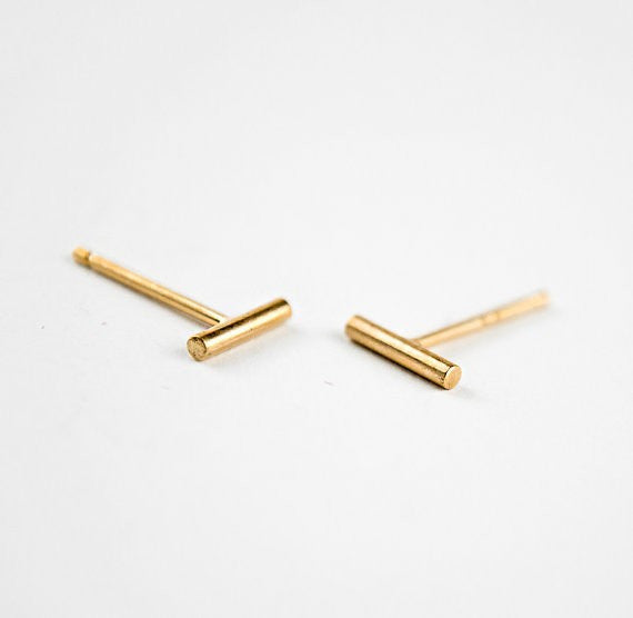 Tiny Geometric Bar Stud Earrings