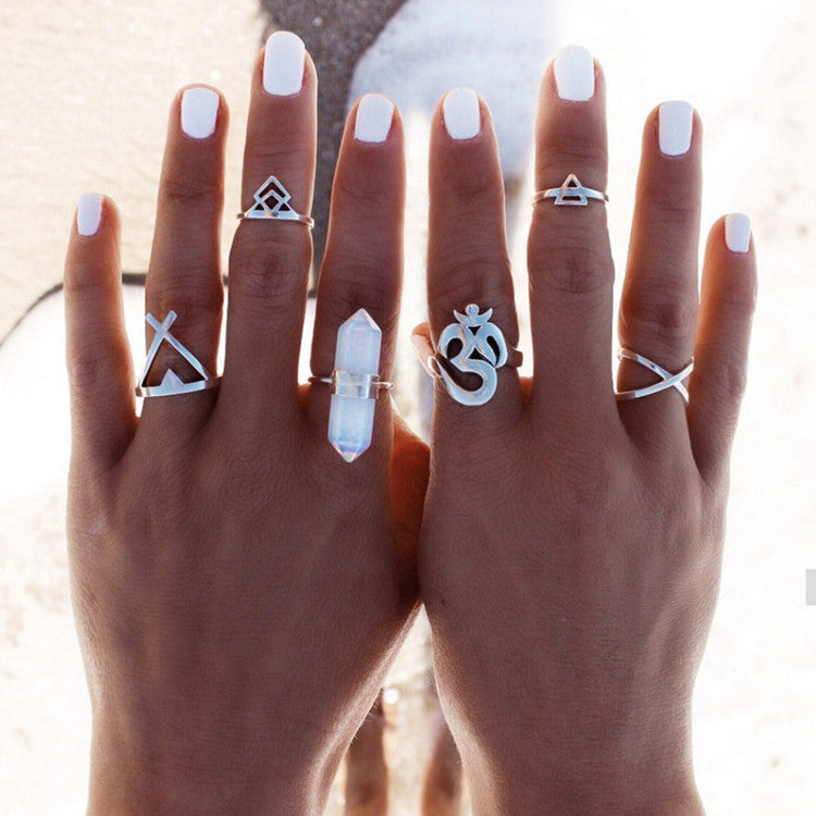 Silver Plated Boho Ring Set