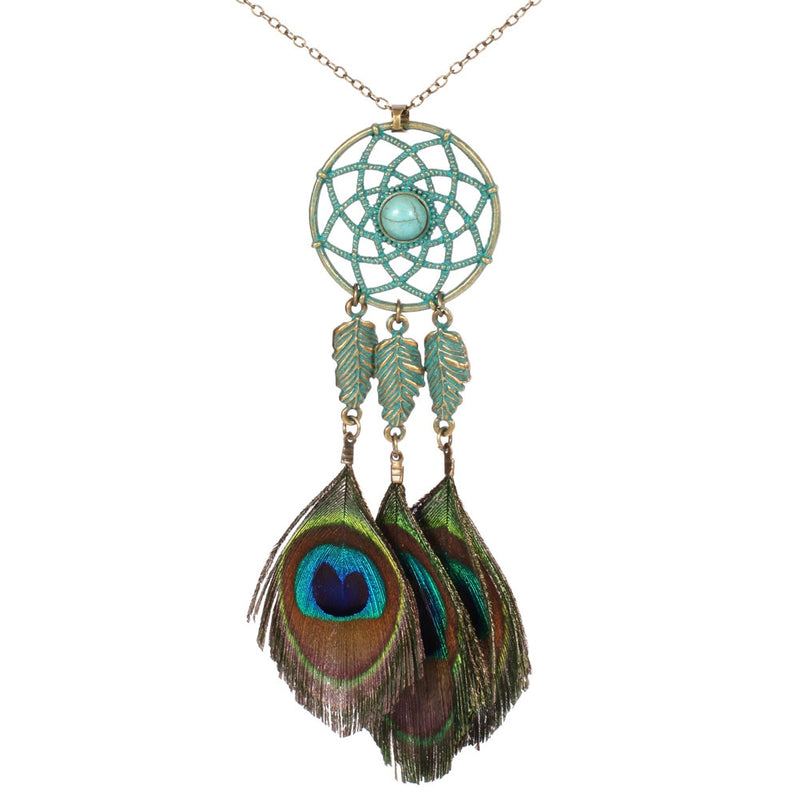 Peacock Feather Boho Necklace