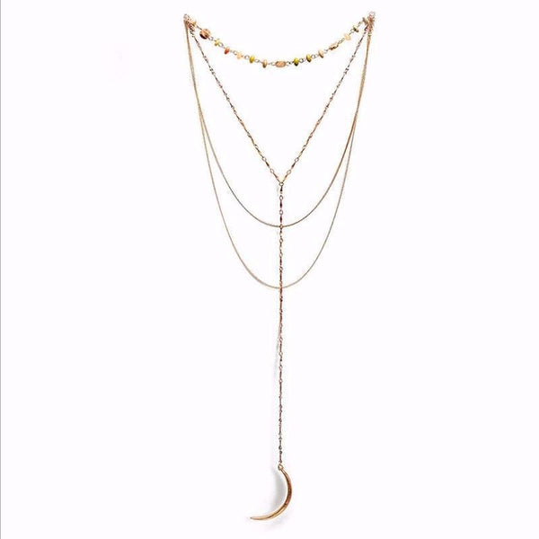 Multilayer Crescent Moon Pendant Necklace