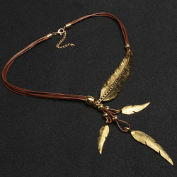 Leather Multi Layer Feather Necklace