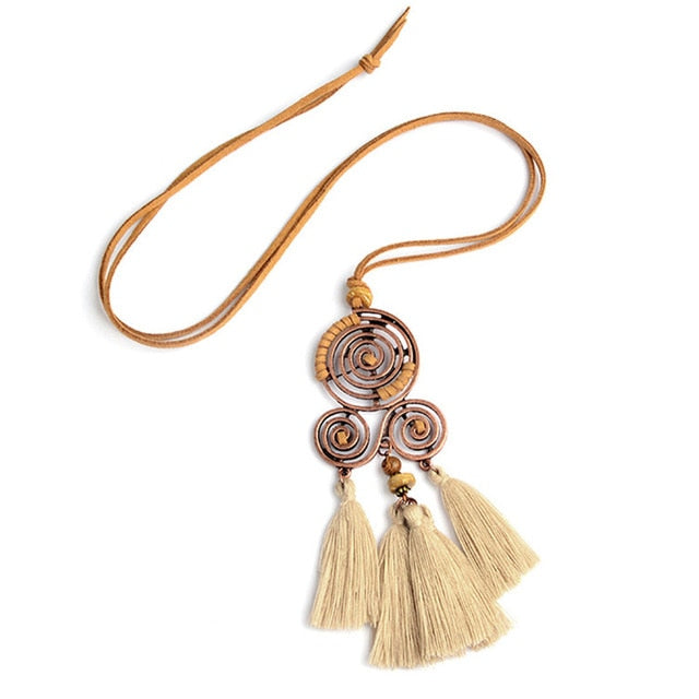 Bohemian Tassel Pendant Necklace