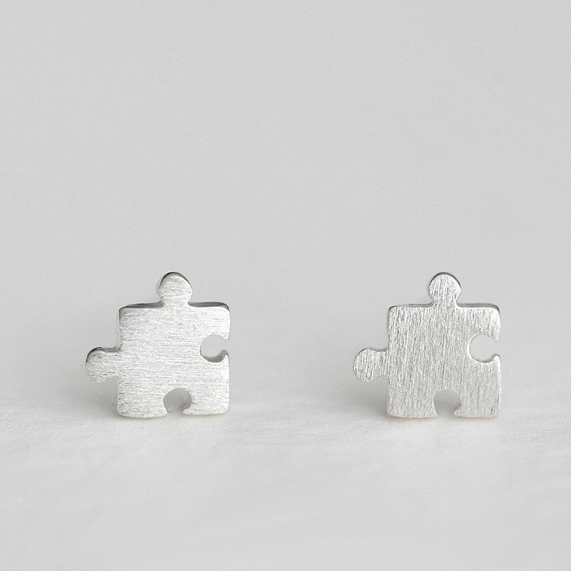 Sterling Silver Puzzle Piece Earrings