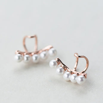 Silver Shell Pearl Ear Cuffs
