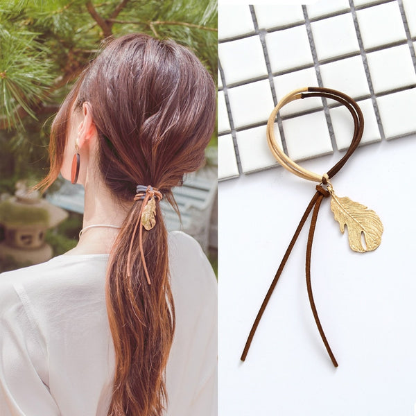 Metal Leaf Ponytail Holder