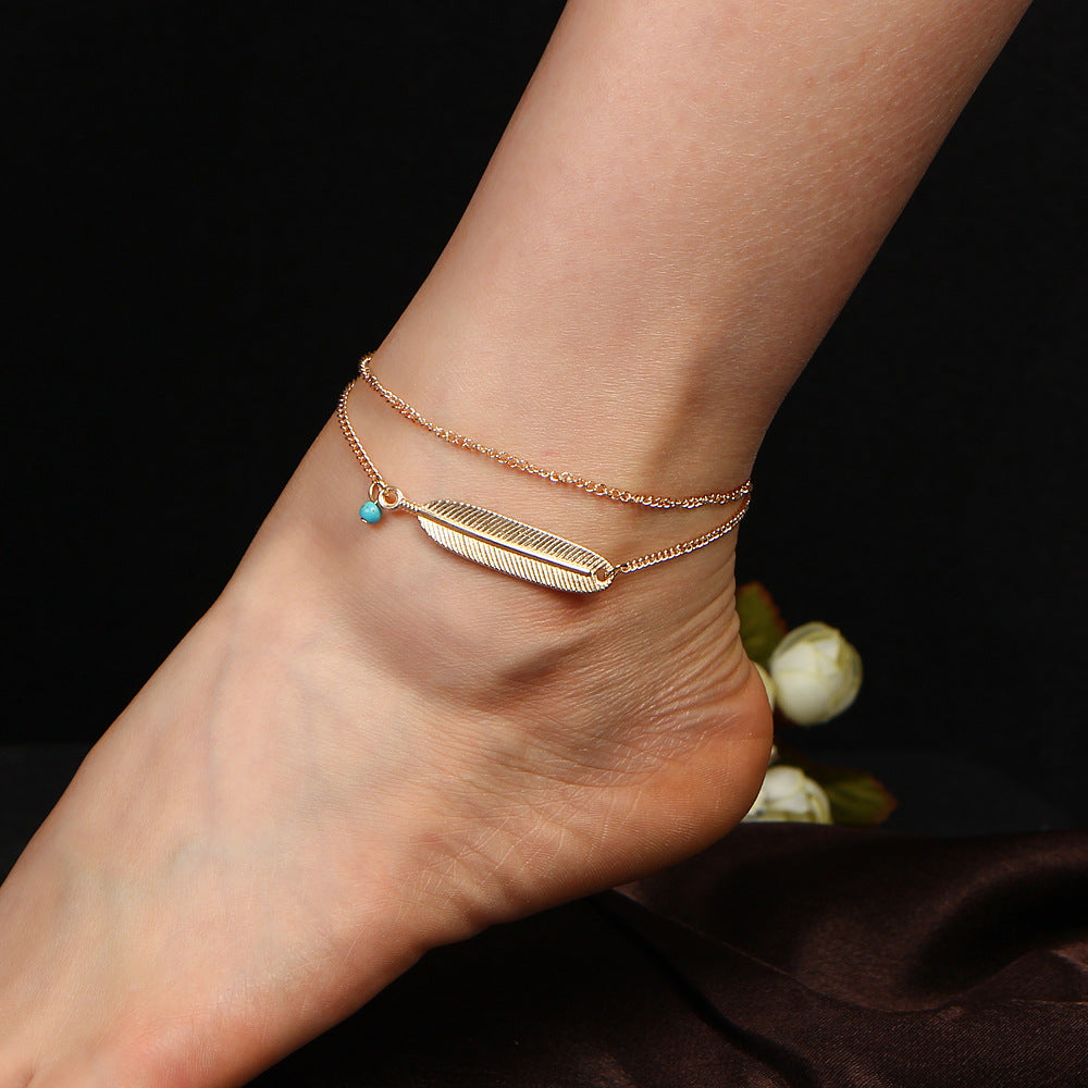 Boho Feather Anklet