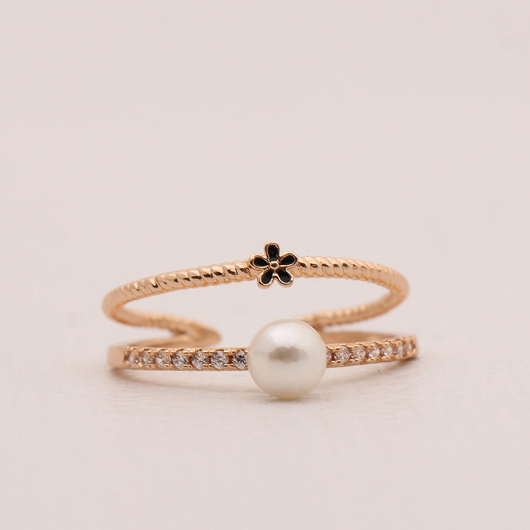 Boho Pearl Flower Ring