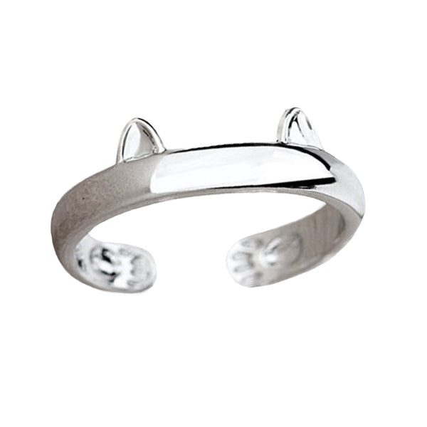 Silver Plated Cat's Ears Ring