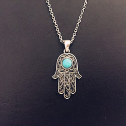 Vintage Silver Turquoise Hamsa Necklace