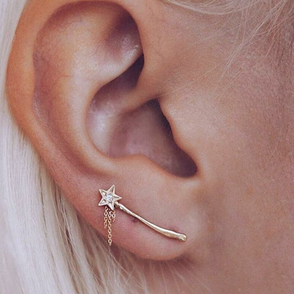 Vintage Crystal Star Ear Climbers
