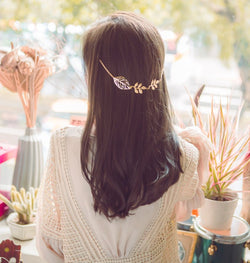 Gold Leaf Floral Hair Clip