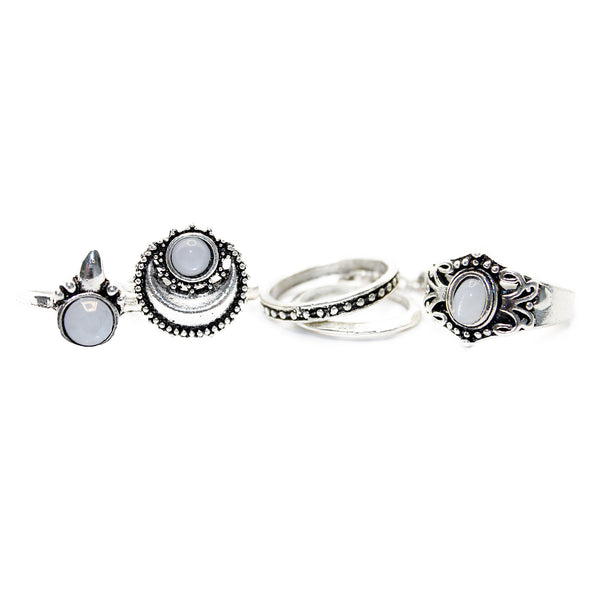 Sun Rise Moon Ring Set