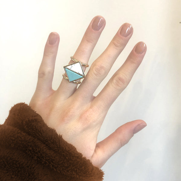 Double Geometric Boho Ring