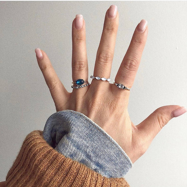 White Crystal Ring Set